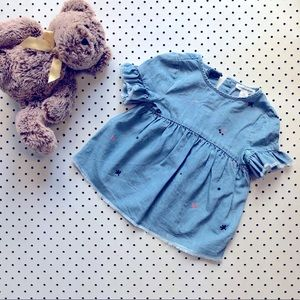 Baby girl COUNTRY ROAD denim dress, flowers Size00